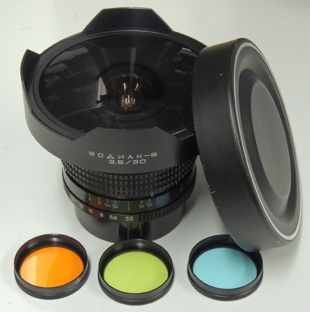 Russian 30mm f3 5 Super Wide Angle Lens with Filters + Case for Kiev 80/88